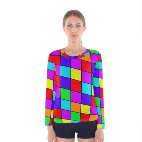 Colorful Cubes Women s Long Sleeve Tee by Valentinaart
