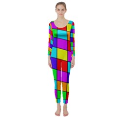 Colorful Cubes Long Sleeve Catsuit by Valentinaart