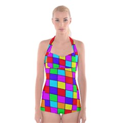Colorful Cubes Boyleg Halter Swimsuit