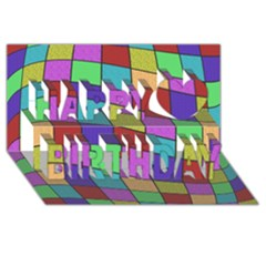 Colorful Cubes  Happy Birthday 3d Greeting Card (8x4)  by Valentinaart
