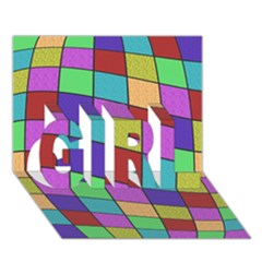 Colorful Cubes  Girl 3d Greeting Card (7x5)