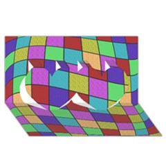 Colorful Cubes  Twin Hearts 3d Greeting Card (8x4)  by Valentinaart