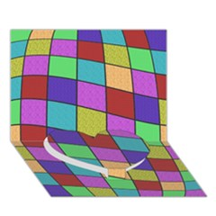 Colorful Cubes  Heart Bottom 3d Greeting Card (7x5)  by Valentinaart