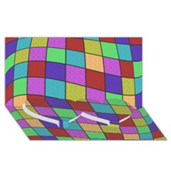 Colorful Cubes  Twin Heart Bottom 3d Greeting Card (8x4)  by Valentinaart