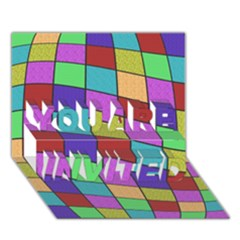 Colorful Cubes  You Are Invited 3d Greeting Card (7x5)
