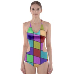 Colorful Cubes  Cut Out One Piece Swimsuit by Valentinaart