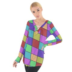 Colorful Cubes  Women s Tie Up Tee by Valentinaart