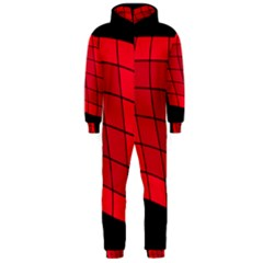 Red Abstraction Hooded Jumpsuit (men)  by Valentinaart