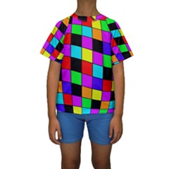 Colorful Cubes  Kid s Short Sleeve Swimwear