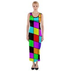 Colorful Cubes  Fitted Maxi Dress by Valentinaart