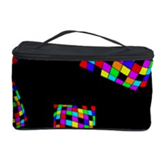 Flying  Colorful Cubes Cosmetic Storage Case by Valentinaart