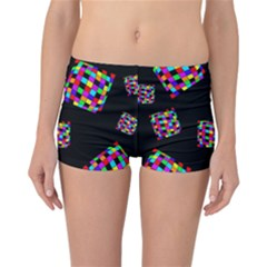 Flying  Colorful Cubes Reversible Boyleg Bikini Bottoms by Valentinaart