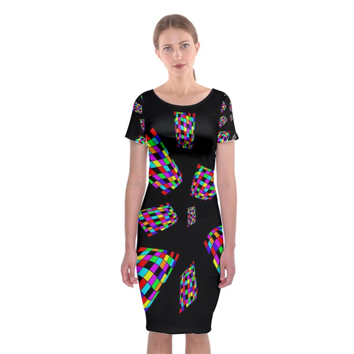 Colorful abstraction Classic Short Sleeve Midi Dress