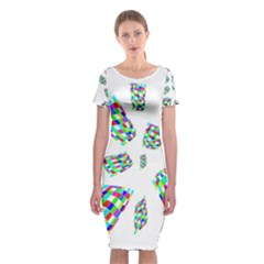 Colorful Abstraction Classic Short Sleeve Midi Dress by Valentinaart