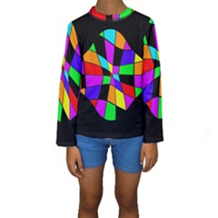 Abstract Colorful Flower Kid s Long Sleeve Swimwear by Valentinaart