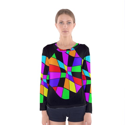 Abstract Colorful Flower Women s Long Sleeve Tee by Valentinaart