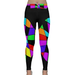 Abstract Colorful Flower Yoga Leggings by Valentinaart