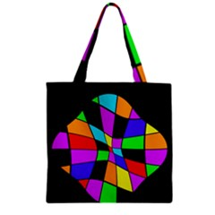 Abstract Colorful Flower Zipper Grocery Tote Bag by Valentinaart