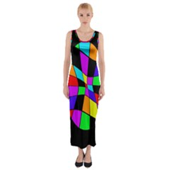 Abstract Colorful Flower Fitted Maxi Dress by Valentinaart