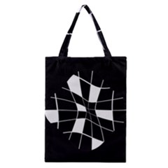 Black And White Abstract Flower Classic Tote Bag by Valentinaart