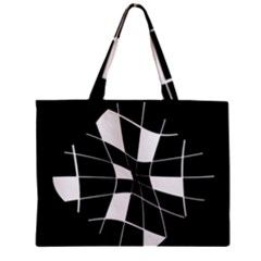 Black And White Abstract Flower Zipper Mini Tote Bag by Valentinaart