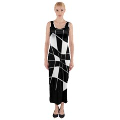 Black And White Abstract Flower Fitted Maxi Dress by Valentinaart