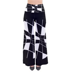 Black And White Abstract Flower Pants by Valentinaart