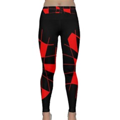 Red Abstract Flower Yoga Leggings by Valentinaart