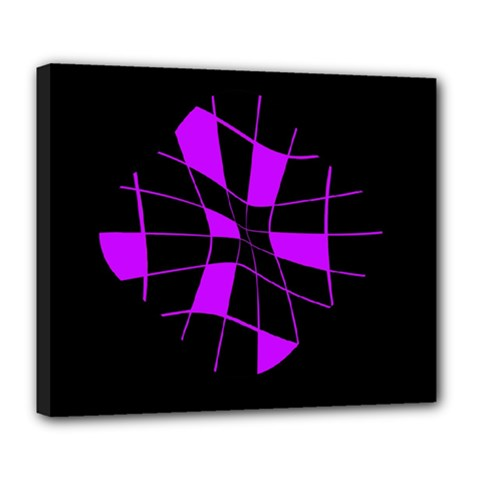 Purple Abstract Flower Deluxe Canvas 24  X 20   by Valentinaart