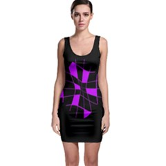 Purple Abstract Flower Sleeveless Bodycon Dress by Valentinaart