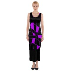 Purple Abstract Flower Fitted Maxi Dress by Valentinaart