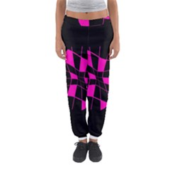 Pink Abstract Flower Women s Jogger Sweatpants by Valentinaart