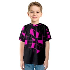 Pink Abstract Flower Kid s Sport Mesh Tee