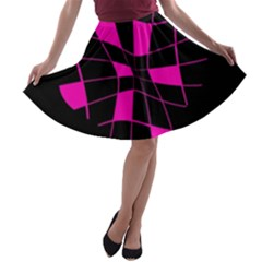 Pink Abstract Flower A-line Skater Skirt by Valentinaart