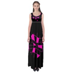 Pink Abstract Flower Empire Waist Maxi Dress