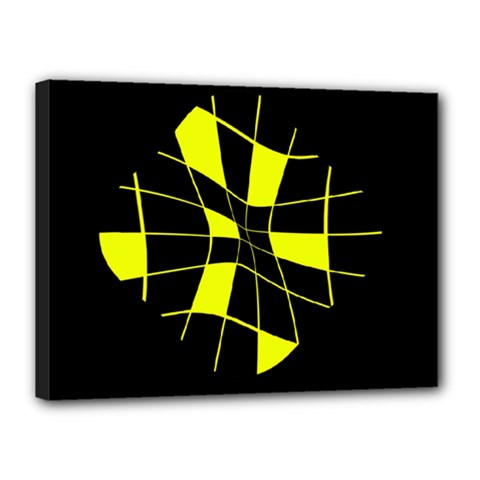 Yellow Abstract Flower Canvas 16  X 12  by Valentinaart
