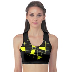 Yellow Abstract Flower Sports Bra by Valentinaart