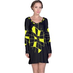 Yellow Abstract Flower Long Sleeve Nightdress