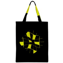 Yellow Abstract Flower Zipper Classic Tote Bag