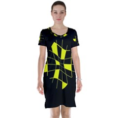 Yellow Abstract Flower Short Sleeve Nightdress