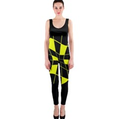 Yellow Abstract Flower Onepiece Catsuit