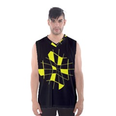 Yellow Abstract Flower Men s Basketball Tank Top by Valentinaart