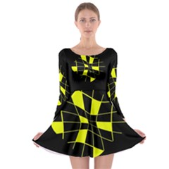 Yellow Abstract Flower Long Sleeve Skater Dress by Valentinaart