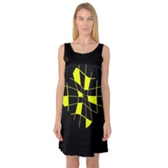 Yellow Abstract Flower Sleeveless Satin Nightdress