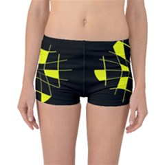 Yellow Abstract Flower Boyleg Bikini Bottoms