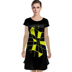Yellow Abstract Flower Cap Sleeve Nightdress