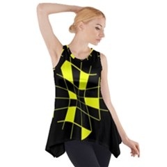 Yellow Abstract Flower Side Drop Tank Tunic