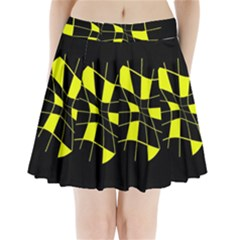 Yellow Abstract Flower Pleated Mini Mesh Skirt