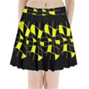 Yellow abstract flower Pleated Mini Mesh Skirt View1
