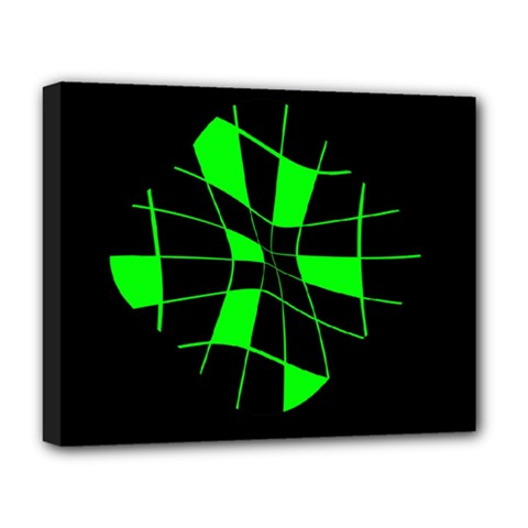 Green Abstract Flower Deluxe Canvas 20  X 16   by Valentinaart